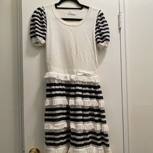 Red by Valentino Ivory and navy  Dress Small Ruffl